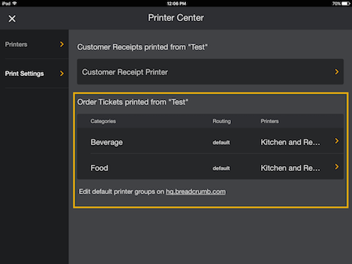 Routing Chit Printing in Menu & App